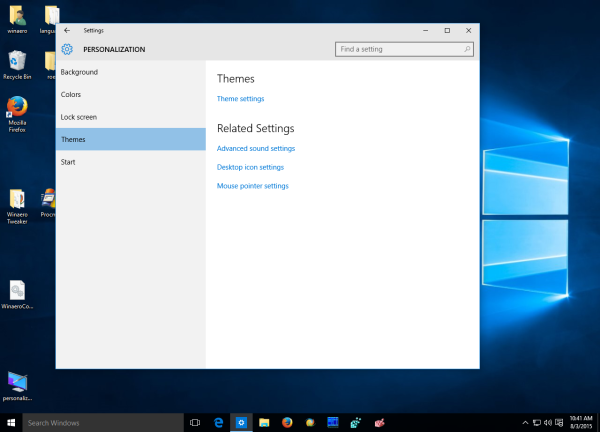 windows 10 theme settings