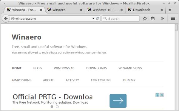 Firefox opened tabs