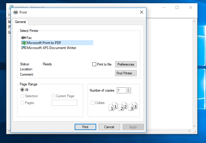 microsoft pdf printer windows server 2012