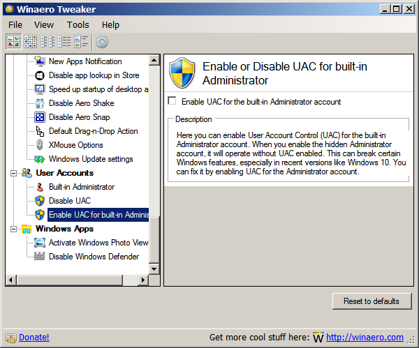 Winaero Tweaker UAC for Admin