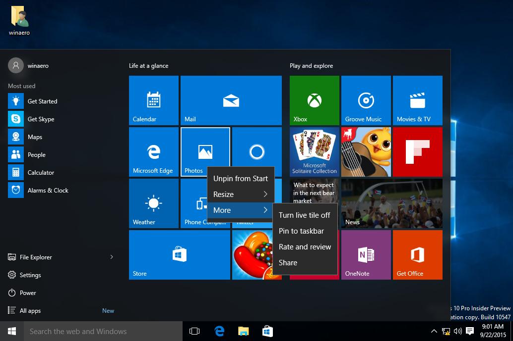 Windows 10 build 10547 features some start menu changes winaero