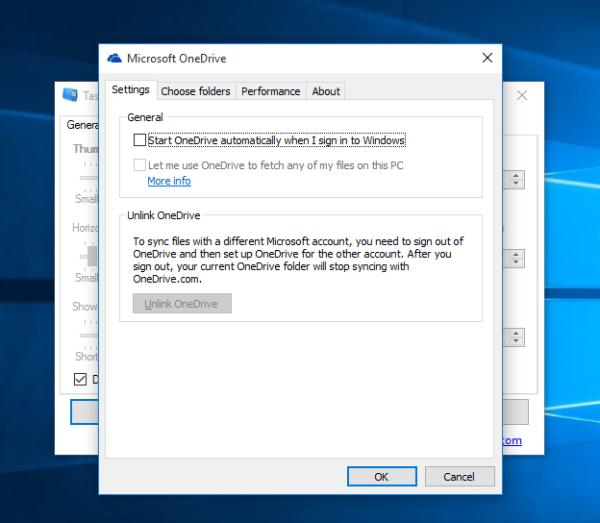 Windows 10 OneDrive disable autostart