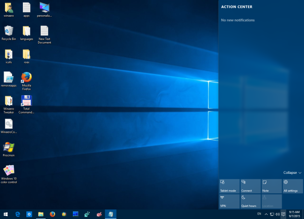 Windows 10 action center before