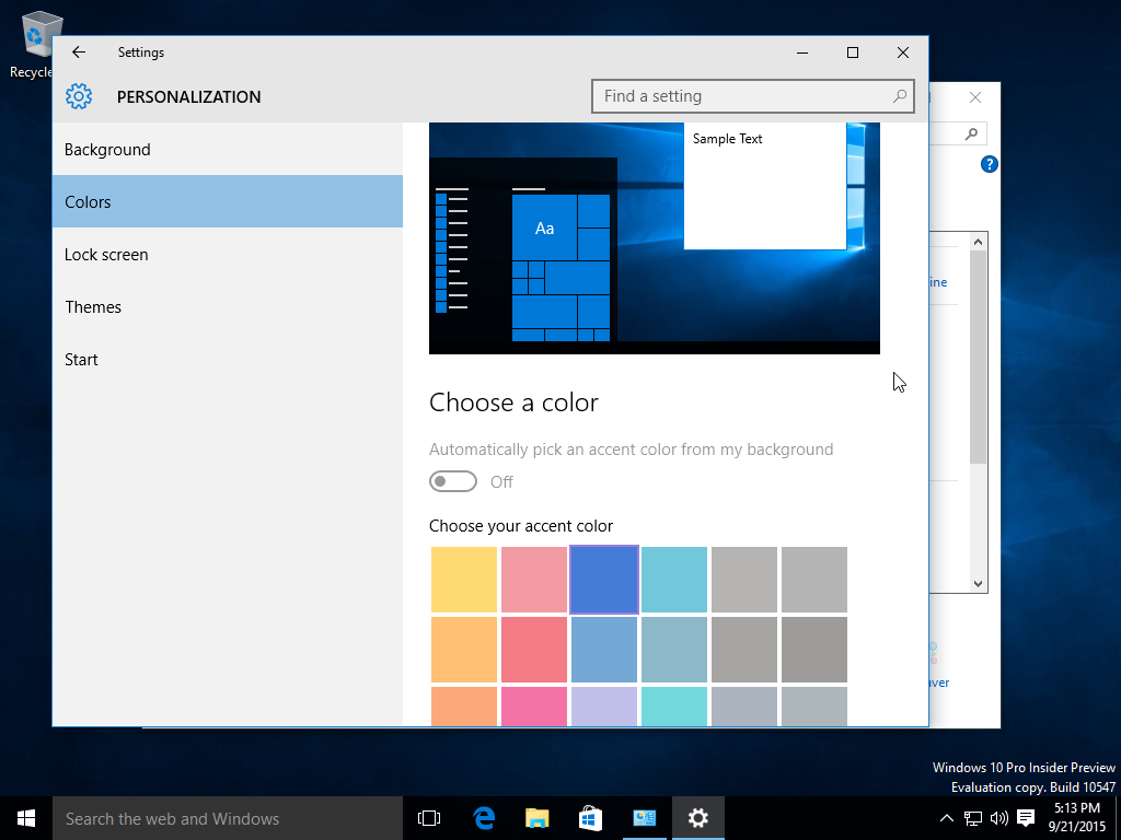 Windows 10 build 10547 color