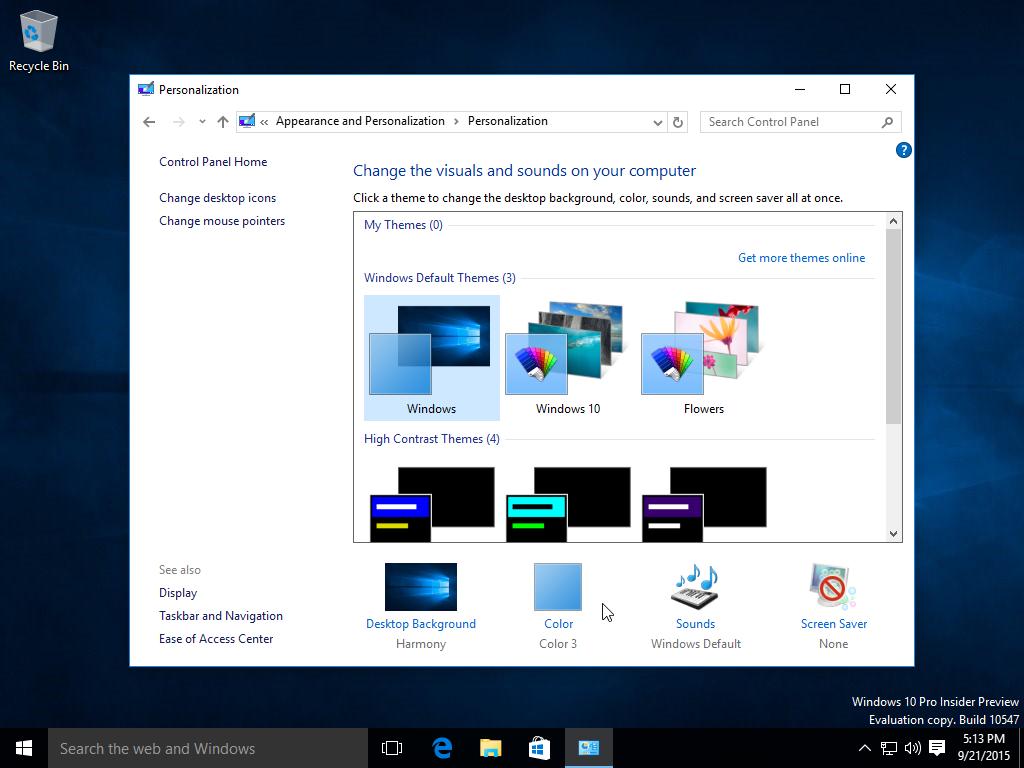 Windows 10 build 10547 personalization
