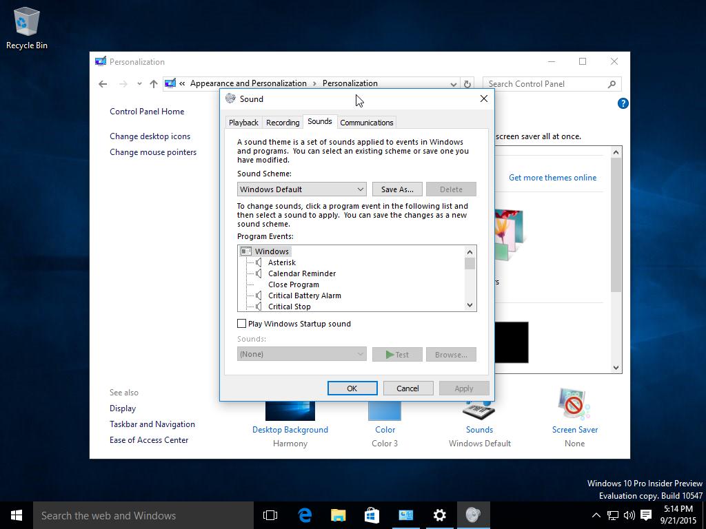 Windows 10 build 10547 sounds