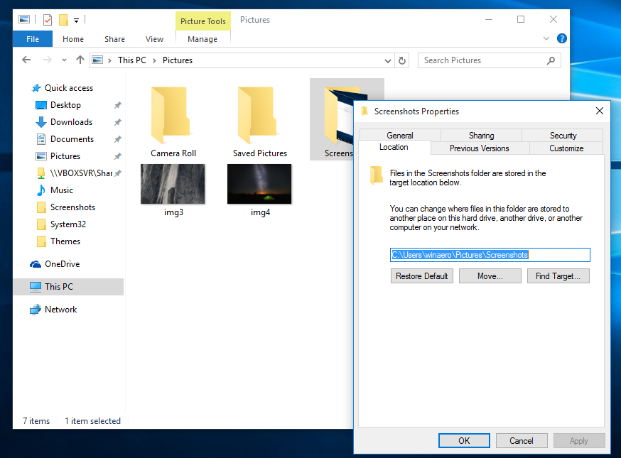 How to change default Screenshots location in Windows 10