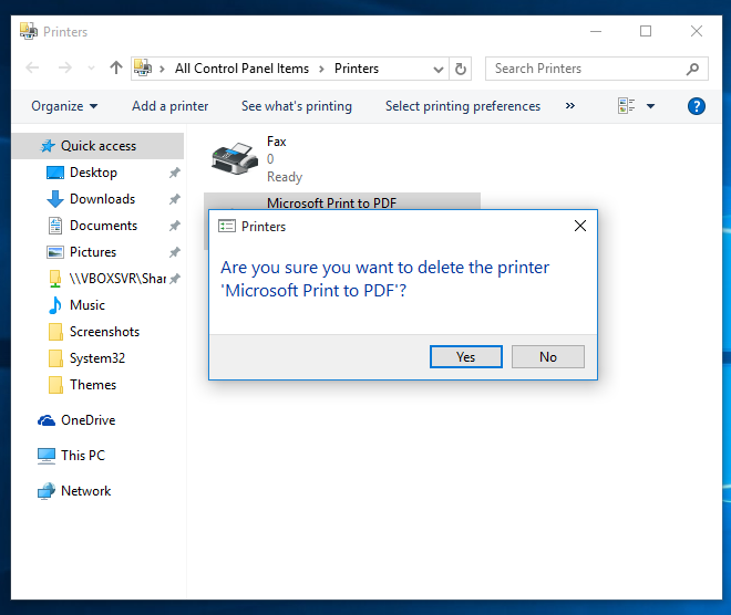 Fix PDF printer is missing in Windows 10