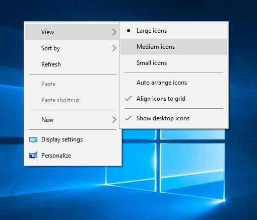Windows 10 desktop icon size menu