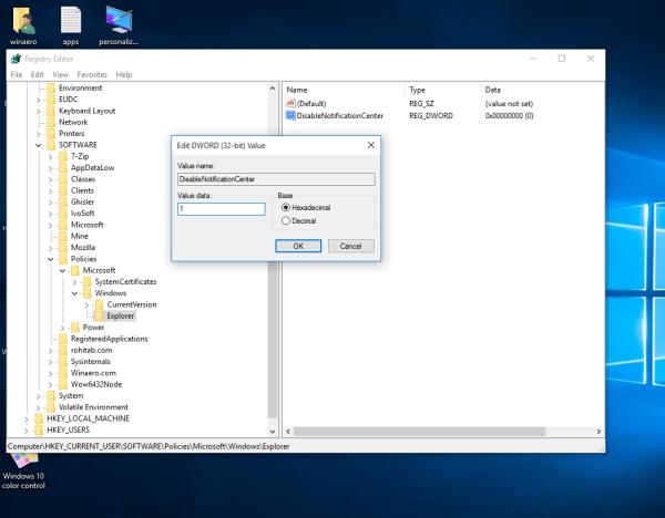 Windows 10 disable action center