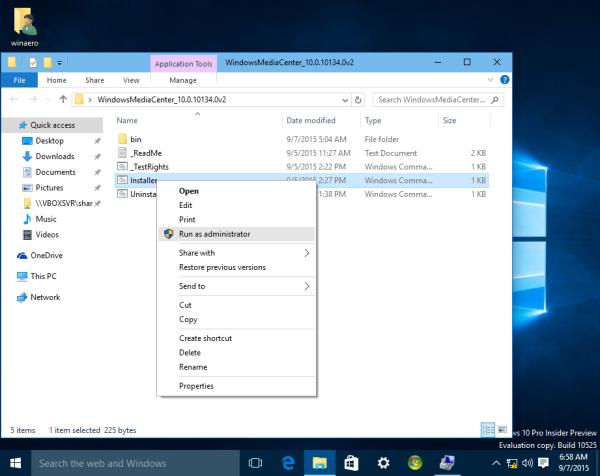 Windows 10 install media center