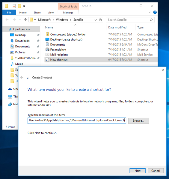 Windows 10 new shortcut in sendto folder