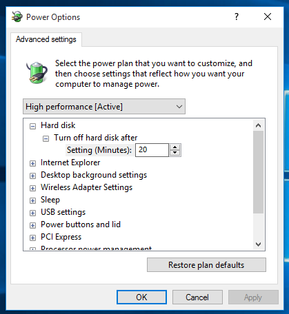 Windows 10 power plan advanced settings
