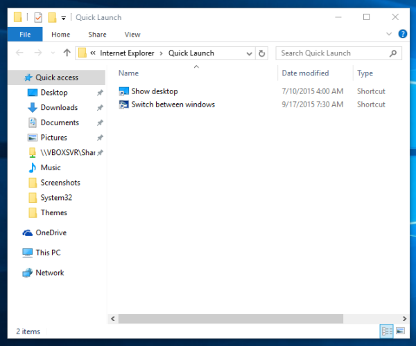Windows 10 quick launch folder