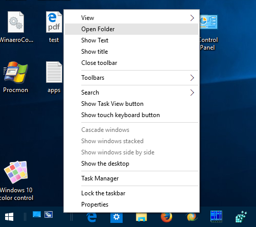 Windows 10 quick launch open folder