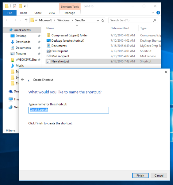 Windows 10 quick launch shortcut name