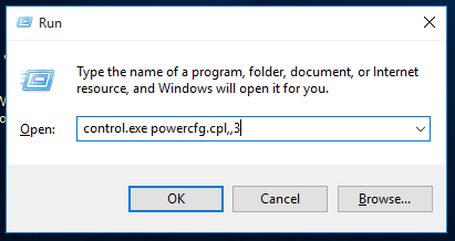Windows 10 run power plan settings