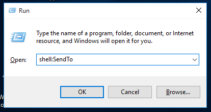 Windows 10 run shell sendto