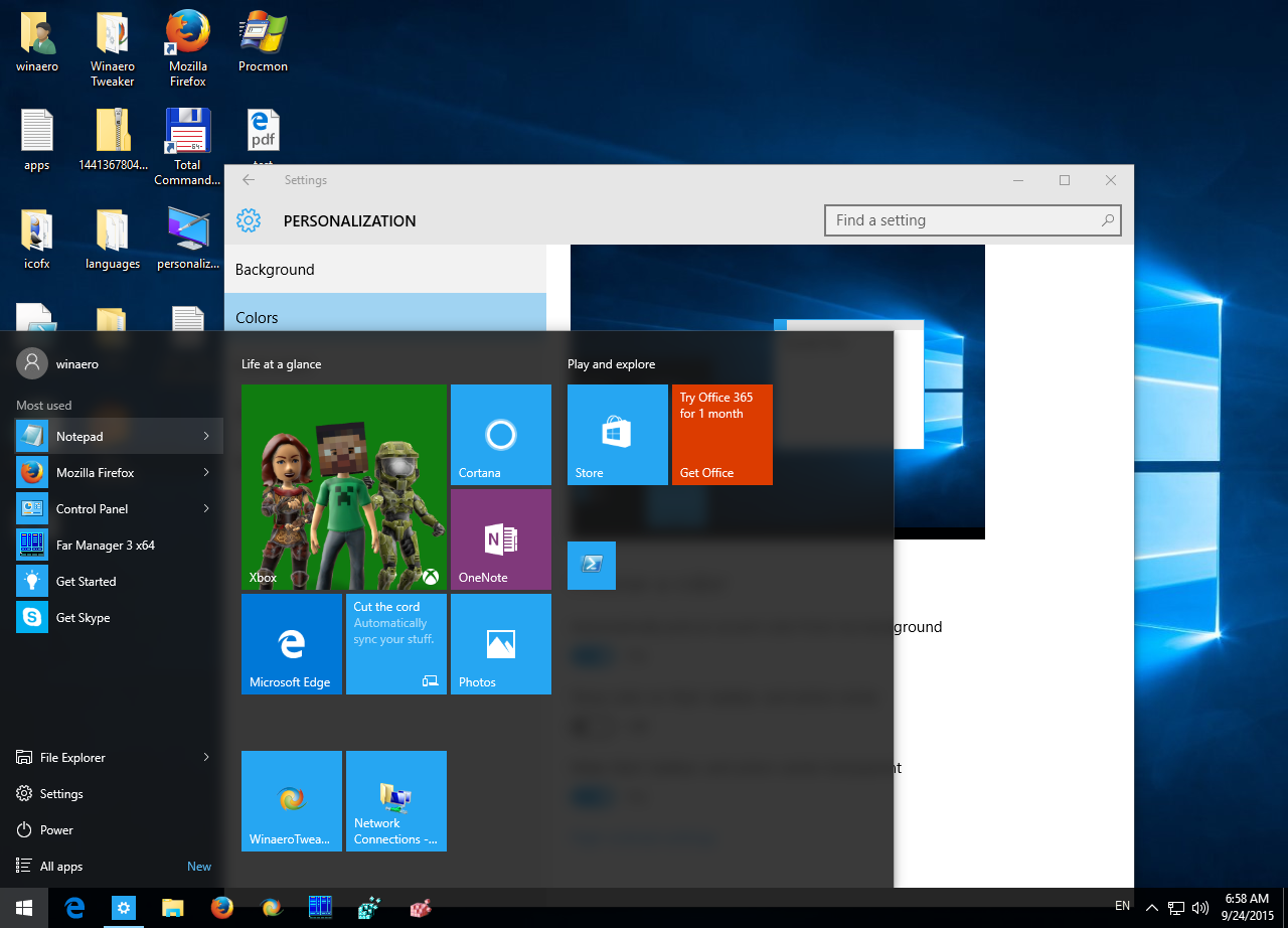 Windows 10 taskbar transparency