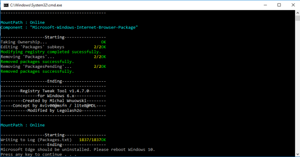Windows 10 uninstall edge complete