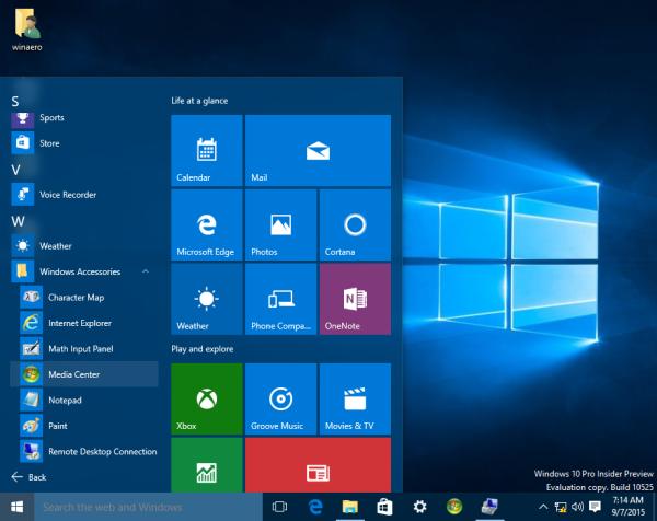 Windows 10 windows media center