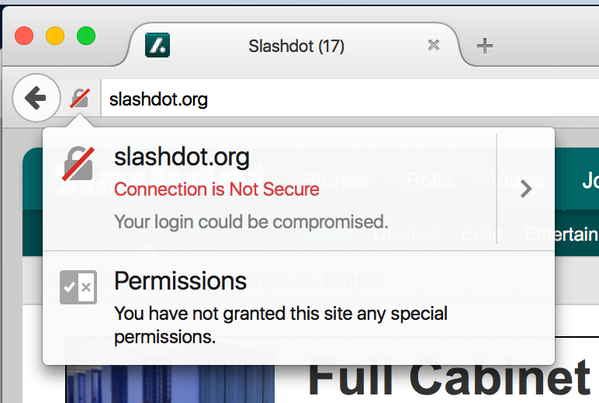 Firefox 44 insecure login notification