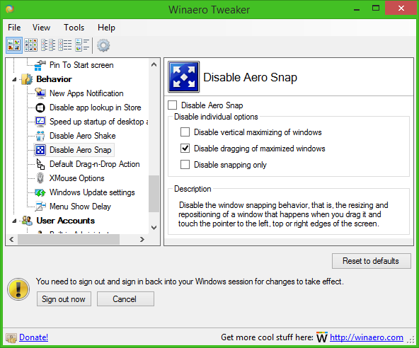 How to disable dragging of maximized windows in Windows 10