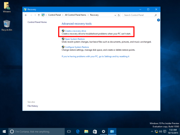 How to create a recovery USB drive for Windows 10