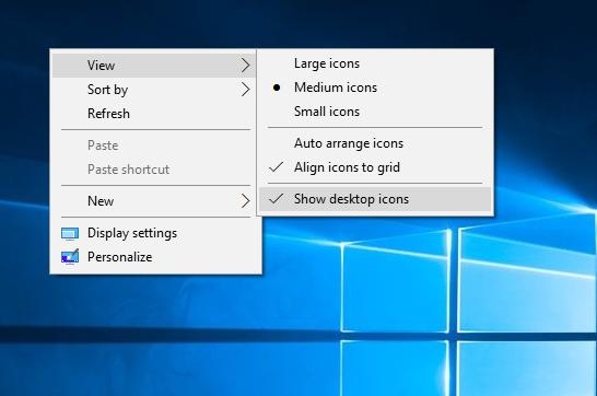 Windows 10 Show deskop icons