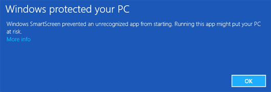 Windows 10 SmartScreen Warning
