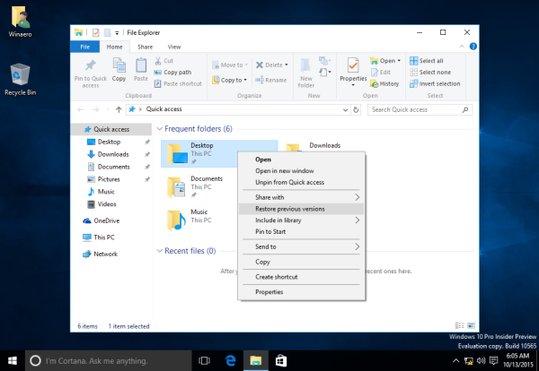 Windows 10 build 10565 context menu