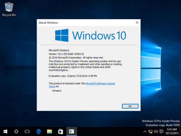 Windows 10 build 10565 winver
