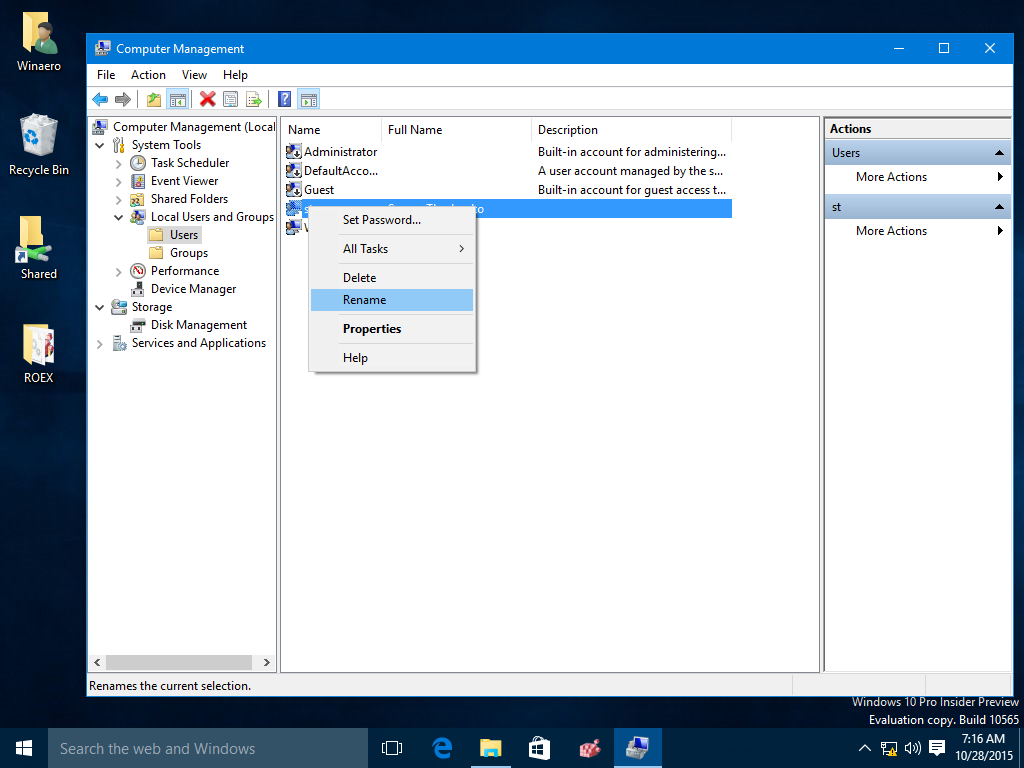How to change your user account name in windows 10 for Change windows