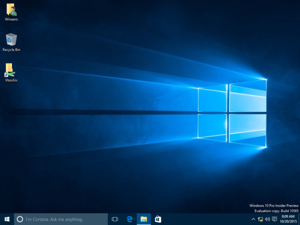 Windows 10 default taskbar