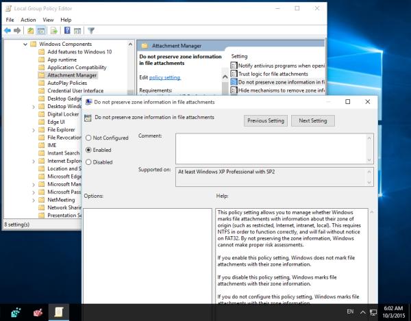 Windows 10 do not block downloaded files