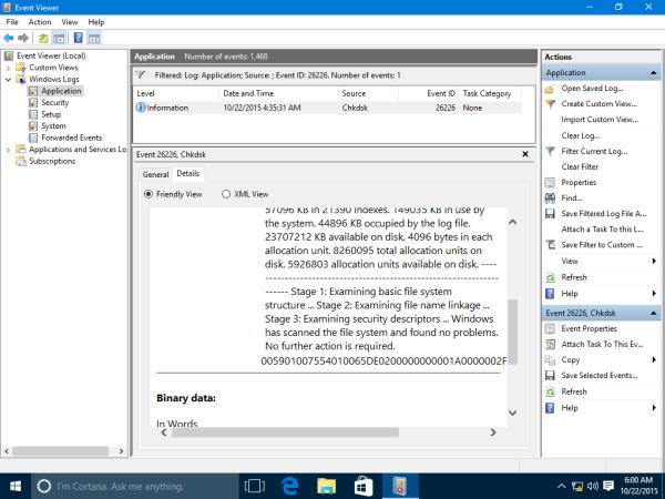 Windows 10 event viewer chkdsk details