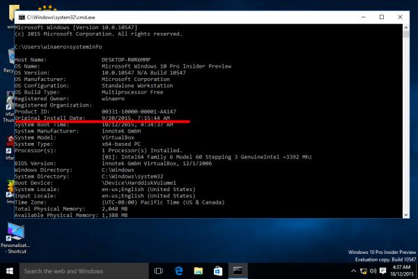 Windows 10 installation date
