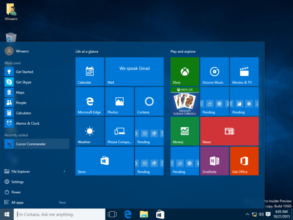 Windows 10 launch cursor commander from the Start menu