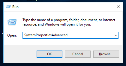 Windows 10 run advacned system properties
