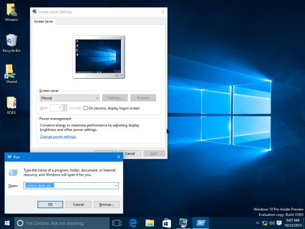 Windows 10 screensaver run
