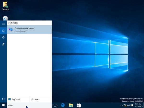 Windows 10 screensaver search