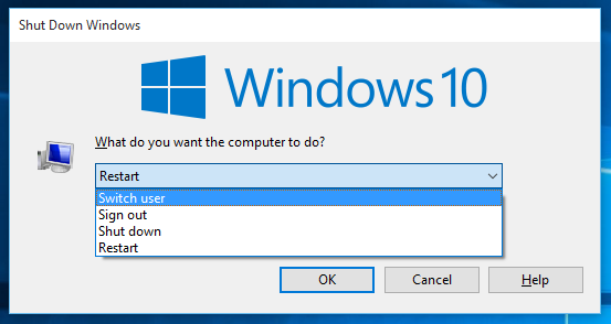 Windows 10 shutdown dialog switch user