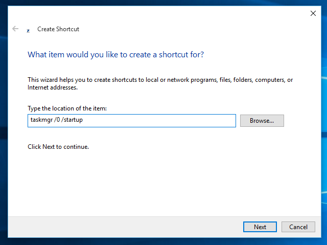 Windows 10 startup shortcut