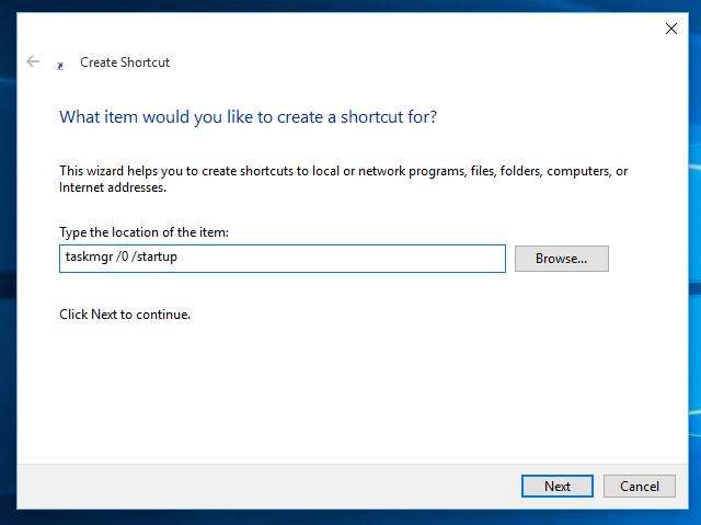 Windows 10 startup shortcut
