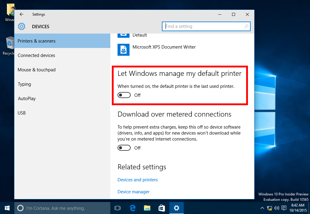 How to stop Windows 10 from changing the default printer