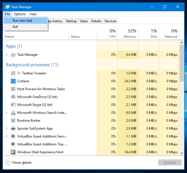 Windows 10 task manager file run