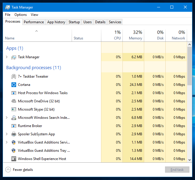 windows 10 task manager open