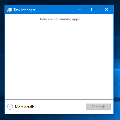 Windows 10 task manager simple view