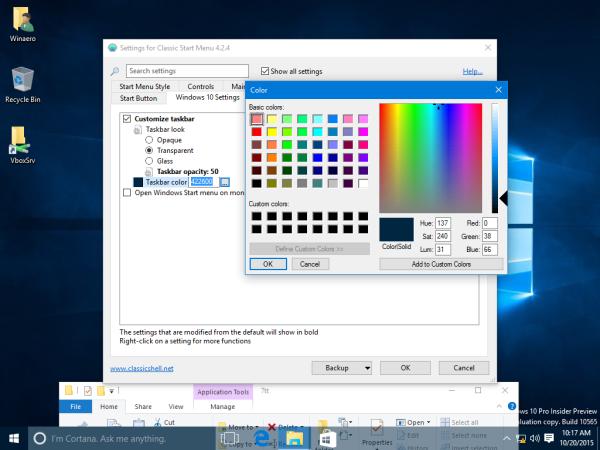 Windows 10 taskbar color