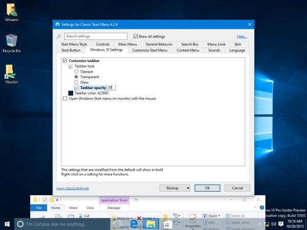 Windows 10 taskbar transparency level